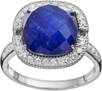 Lapis Siri Usa By Tjm SIRI USA by TJM Lazuli & Crystal Doublet, & Cubic Zirconia Sterling Silver Cushion Halo Ring