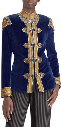 Ralph Lauren 50th Anniversary Embellished Velvet Barrack Jacket