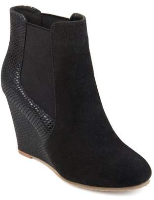 Brinley Co. Women's Round Toe Faux Suede Faux Snake Wedge Booties