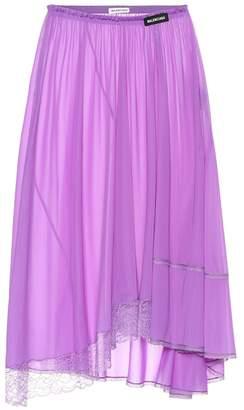Balenciaga Lace-trimmed jersey skirt