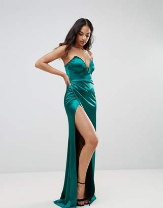 Club L Plunge Front Bandeau Maxi Dress With Thigh Split