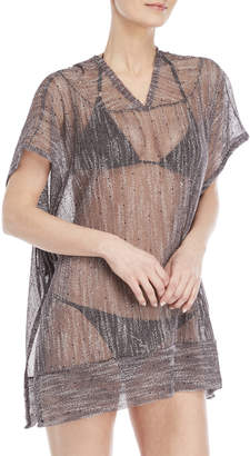 Jordan Taylor Tie-Side Sequin Hooded Cover-Up Poncho