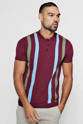 boohoo Vertical Stripe Knitted Polo