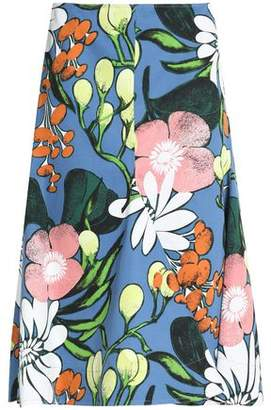Marni Floral-print Cotton And Linen-blend Twill Skirt