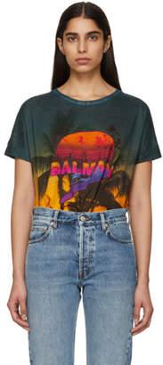 Balmain Multicolor Linen Tropical T-Shirt