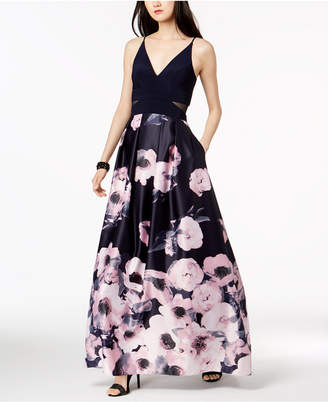 Xscape Evenings Illusion-Inset Solid & Floral-Print Gown