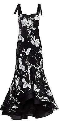 Silvia Tcherassi Women's Evangeline Sequin Floral Ruffle Gown