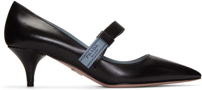 Prada Black Logo Bow Heels