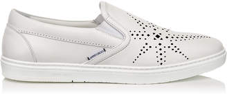 Jimmy Choo GROVE White Sport Calf Leather Slip on Trainers with Black Star Perforation.