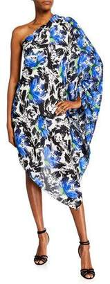 Roland Mouret Asymmetric One-Shoulder Abstract Floral Tunic Dress