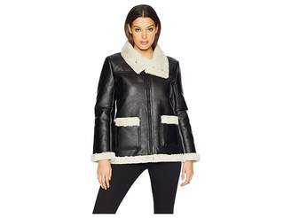 Vince Camuto Long Sleeve Pleather Shearling Trimmed Jacket