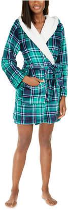 Jenni Faux-Fur-Trim Plaid Robe