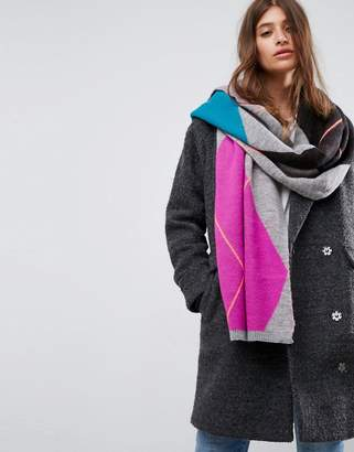 Asos Design Argyle Knit Bright Scarf