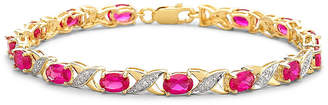 JCPenney FINE JEWELRY Lab-Created Ruby with Diamond-Accents 14K Gold over Silver Link Bracelet
