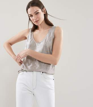 Reiss GEMMA METALLIC TANK TOP Goldmetallic