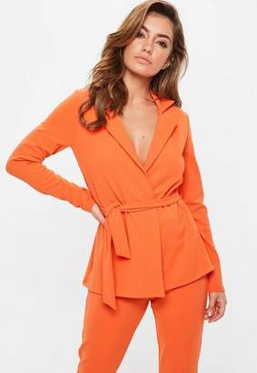 Missguided Tie Waist Double Breasted Blazer