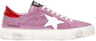 Golden Goose 20mm May Metallic Leather Sneakers
