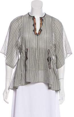 Etoile Isabel Marant Striped Embroidered Top