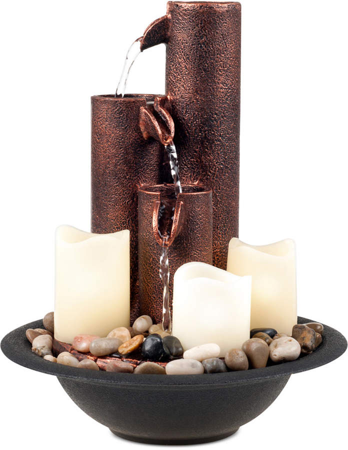 Trademark Global Pure Garden Tiered Column Tabletop Fountain with Led Lights & Candles