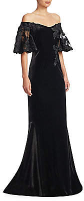 Teri Jon by Rickie Freeman by Rickie Freeman Women's Velvet Off-The-Shoulder Lace Sleeve Gown