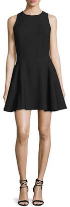 Halston Sleeveless Fit-&-Flare Mini Dress, Black