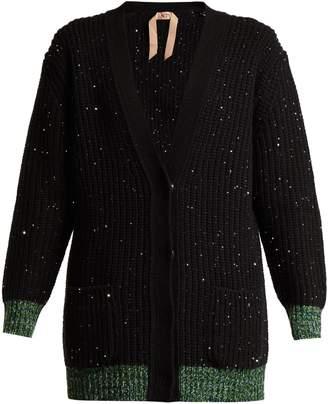 No.21 NO. 21 Sequin-embellished wool-blend cardigan