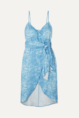 Reformation Court Asymmetric Printed Linen Wrap Dress - Blue