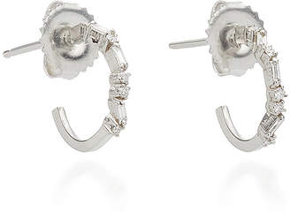 Suzanne Kalan 18K White Gold Diamond Hoop Earrings