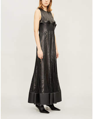 Loewe Flared lace-trimmed leather maxi dress
