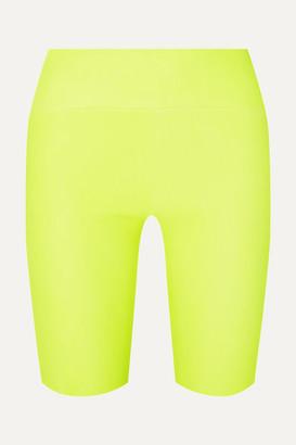 Sprwmn Neon Leather Shorts - Yellow