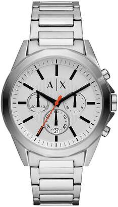 Drexler Silver And Black Detail Chronograph Dial Stainless Steel Bracelet Mens Watch