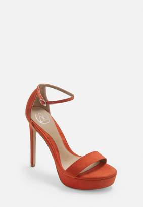 Missguided Orange Faux Suede Platform Heels