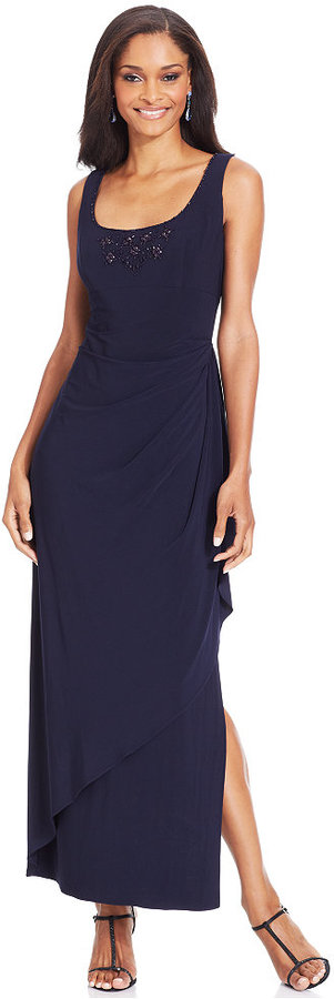 Alex Evenings Sleeveless Beaded Faux-Wrap Gown and Jacket