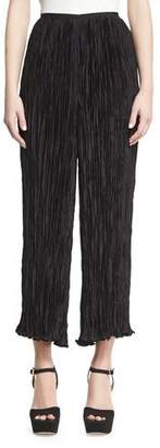 Elizabeth and James Crescent Pleated Flare Cropped Pants, Black