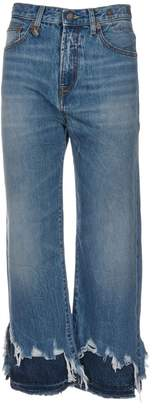 R 13 Distressed Cropped Jeans