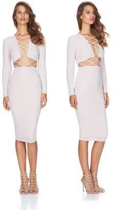 Feel Fashion Clubwear Dress Cross Straps Front Long Sleeve Bodycon Bandage Dress