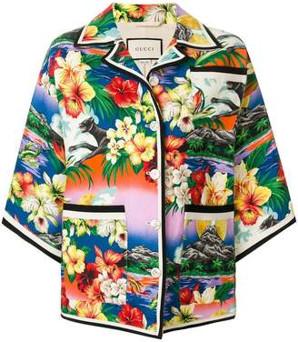Gucci pocket detail exotic print jacket