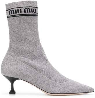 Miu Miu lurex sock booties