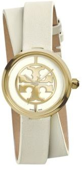 Tory Burch Tory Burch Reva Goldtone Stainless Steel & Leather Double-Wrap Strap Watch