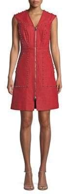 Diane von Furstenberg Zip Front Studded Sheath