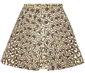 Roberto Cavalli Leopard-Print Cotton-Twill Mini Skirt