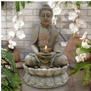 Alpine Buddha Fiberglass Serenity Fountain with LED Light