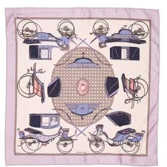 Hermes Les Voitures a Transformation Silk Pocket Square