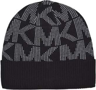 MICHAEL Michael Kors Michael Kors Signature Logo Knit Beanie Hat Black White