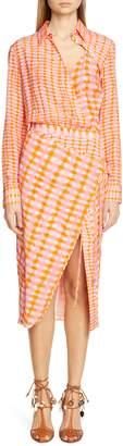 Altuzarra Gingham Print Silk Shirtdress