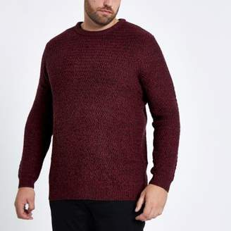 River Island Mens Big and Tall red slim fit textured sweater