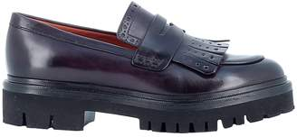 Santoni Burgundy Leather Loafers