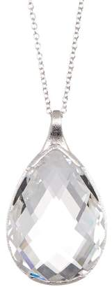 Rivka Friedman White Rhodium Clad Teardrop Crystal Pendant Necklace