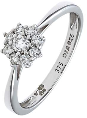 Mogul 9ct White Gold Diamond Cluster Engagement Ring, 0.25ct