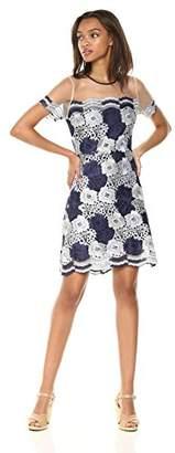 T Tahari Women's Jolie Floral Lace Short Sleeve Dress